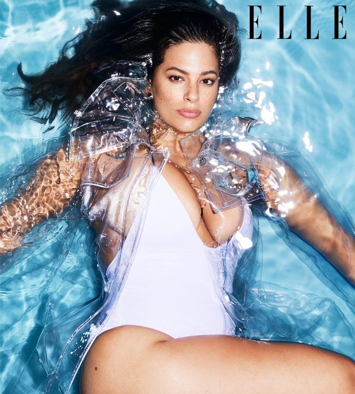 Ashley Graham's White Swimsuit in Elle Magazine