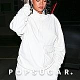 Rihanna's White Fuzzy Heels January 2019