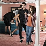 Winona Ryder and Shawn Levy speak while filming inside the set of Mayor Kline's home.