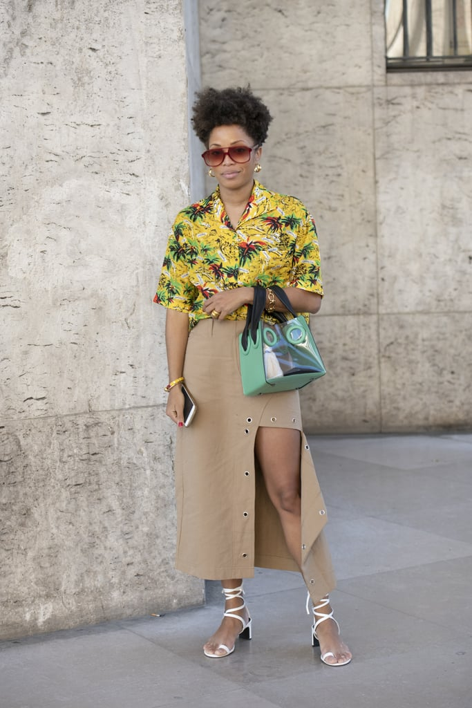 Style them with a tropical-print top and a long skirt.