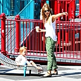 Jessica Alba brought her daughter to the playground.