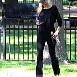 Gisele Bundchen walked through a park.
