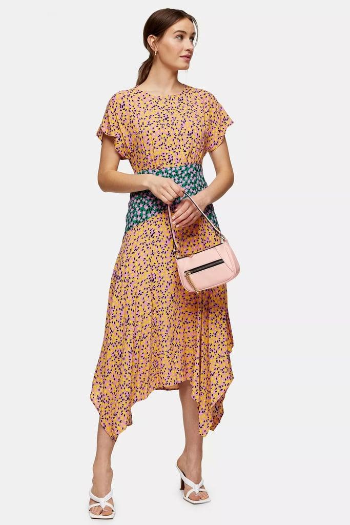 Mixed Floral Print Hanky Hem Midi Dress