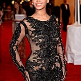 Beyoncé Knowles posed in a revealing Givenchy dress at the Met Gala.