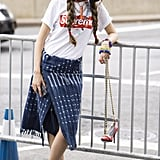 Wear a Sporty Shirt With a Wrap Skirt