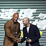 Dwayne Johnson and Jason Statham shook hands at a Hobbs & Shaw press panel in China in August 2019.