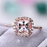 14k Rose Gold 2.5-3 Carat Cushion Cut Morganite Engagement Ring