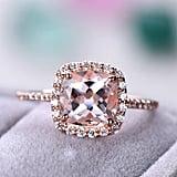 14k Rose Gold 2.5-3 Carat Cushion Cut Morganite Engagement Ring