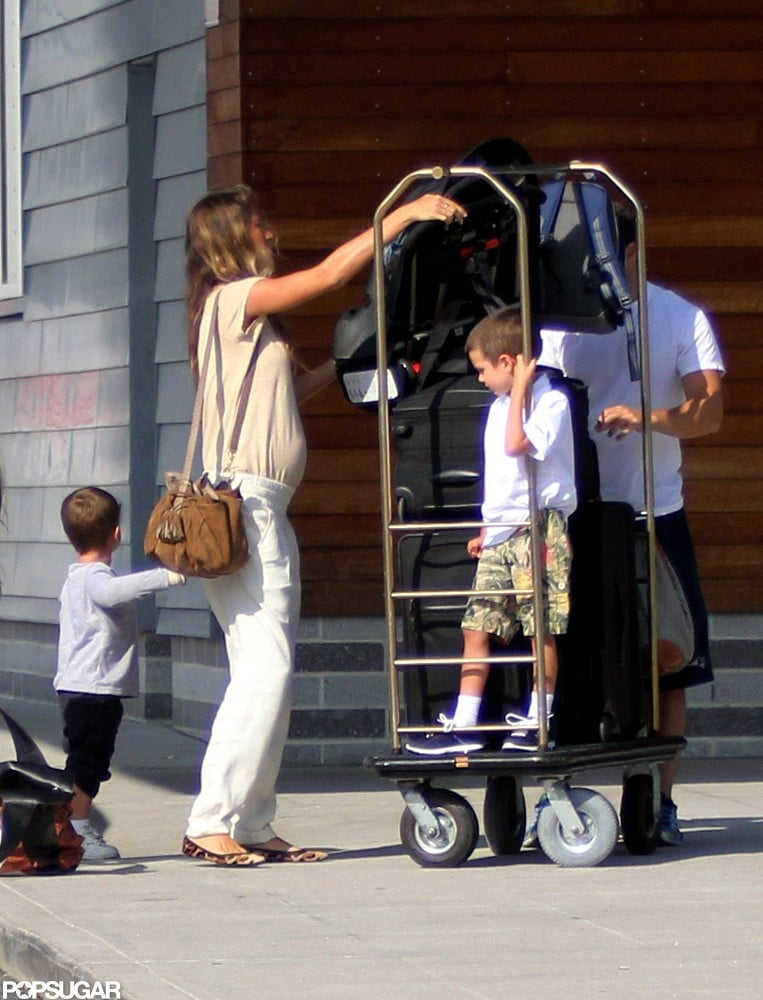 Gisele Bundchen headed out with Jack Moynahan and Benjamin Brady.