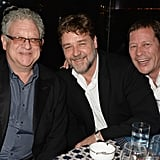 Russell Crowe relaxed at a table with a couple of pals.