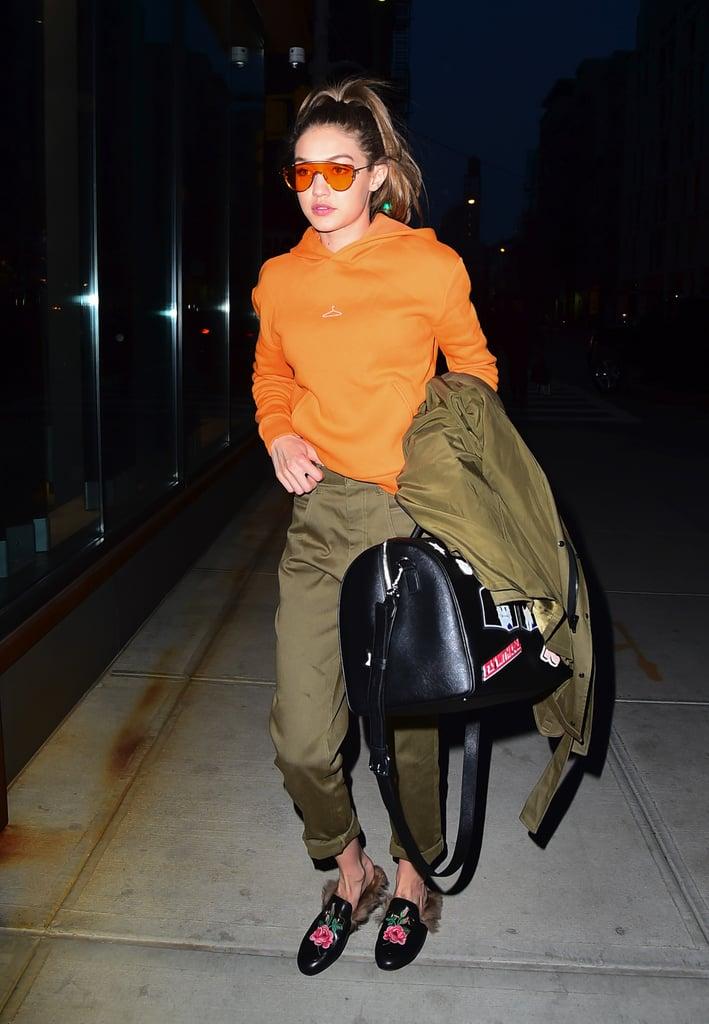 Gigi Hadid Wearing Gucci Loafers 2016