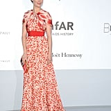 Bérénice Bejo chose an elegant red-and-white cap-sleeved Giambattista Valli gown for the occasion.