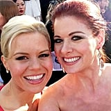 Debra Messing found her Smash costar Megan Hilty on the Golden Globes red carpet. Source: Debra Messing on WhoSay