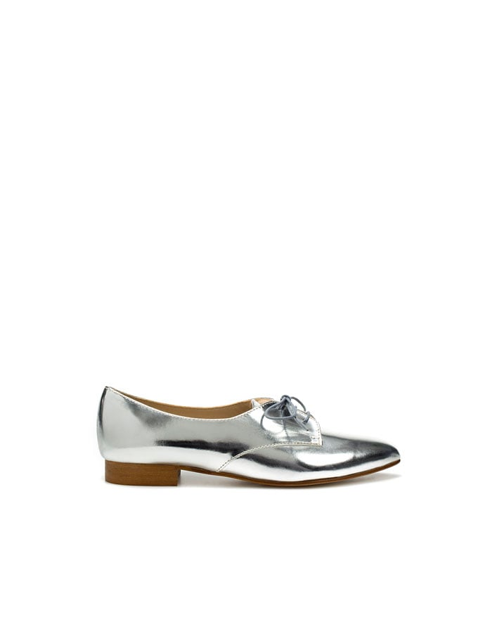We love the idea of a patent oxford to add a little metallic impact to our cardigans and denim.   Zara Patent Blucher ($100)