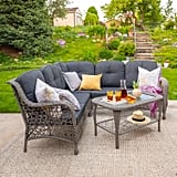 Outdoor Gray Rattan Sectional With Cushions & Table Set