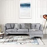 Grey Upholstered Linen Sectional Sofa
