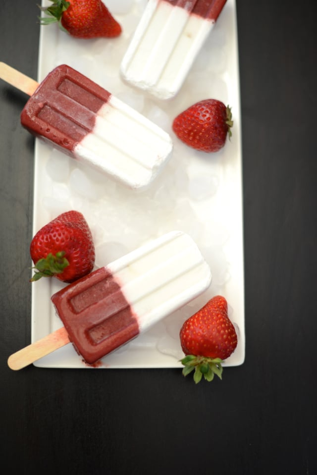 Strawberry and Coconut Milk Popsicles