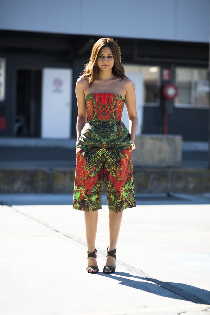 Christine Centenera gave us another enviable style moment in a printed peplum top and bermuda shorts set. Source: Le 21ème | Adam Katz Sinding