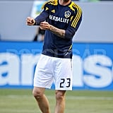 David Beckham warmed up.