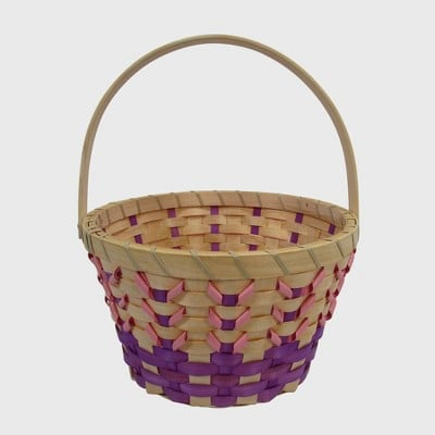 Easter Basket Woven Chipwood with Ribbon