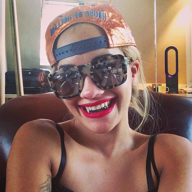 Rita Ora showed off her fangs in the form of a new grill. Source: Instagram user ritaora