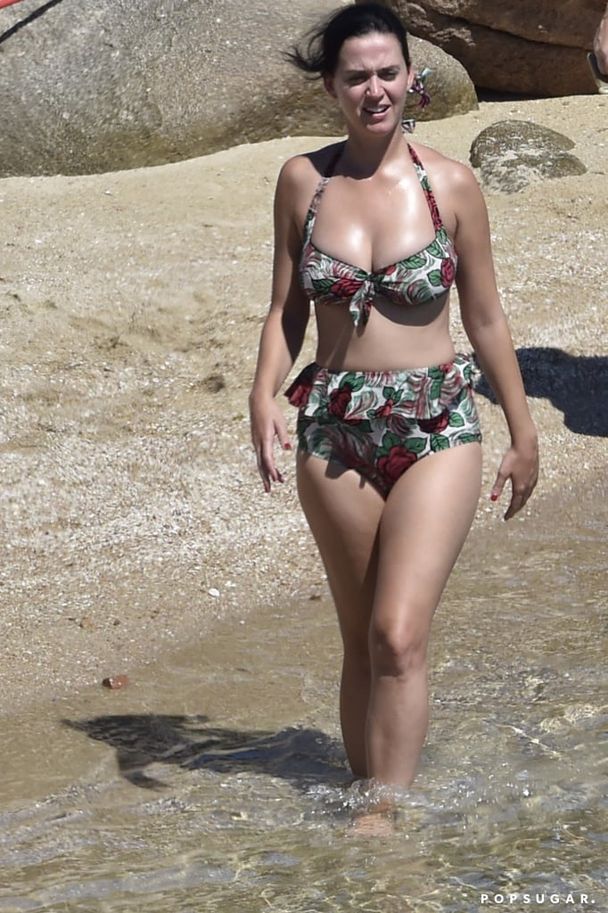 Katy took a dip in a retro two-piece while vacationing in Italy in August 2016.
