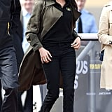 When she stepped out with Prince Harry for the UK team trials for the Invictus Games in April 2018, Meghan wore flared denim with Stuart Weitzman heeled booties.