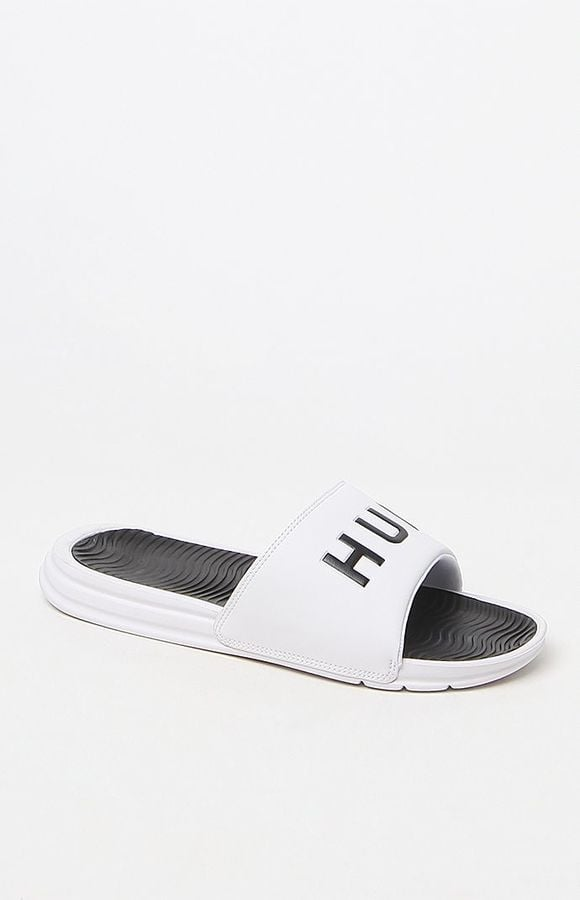HUF White Slide Sandals ($40)