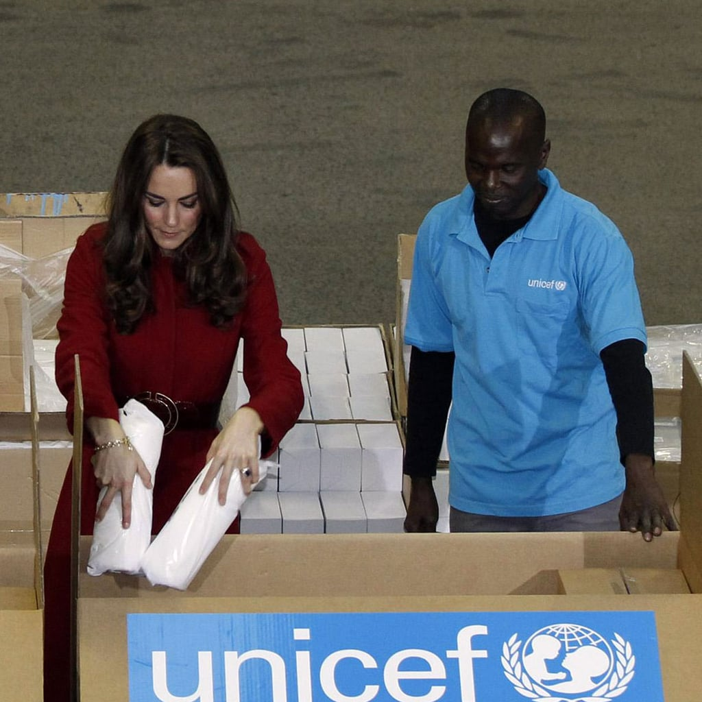 Kate Middleton helped sort through boxes at the UNICEF emergency supply center in Copenhagen.