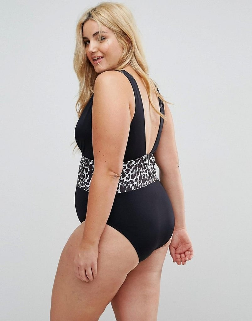 Asos Curve Leopard Print Corset Supportive Swimsuit