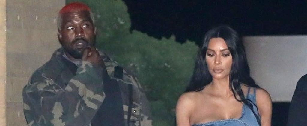 Kim Kardashian Denim Outfit With Kanye West February 2019
