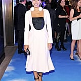 Hannah Bronfman added eye-catching earrings to her Dior design at the label's Saks event.