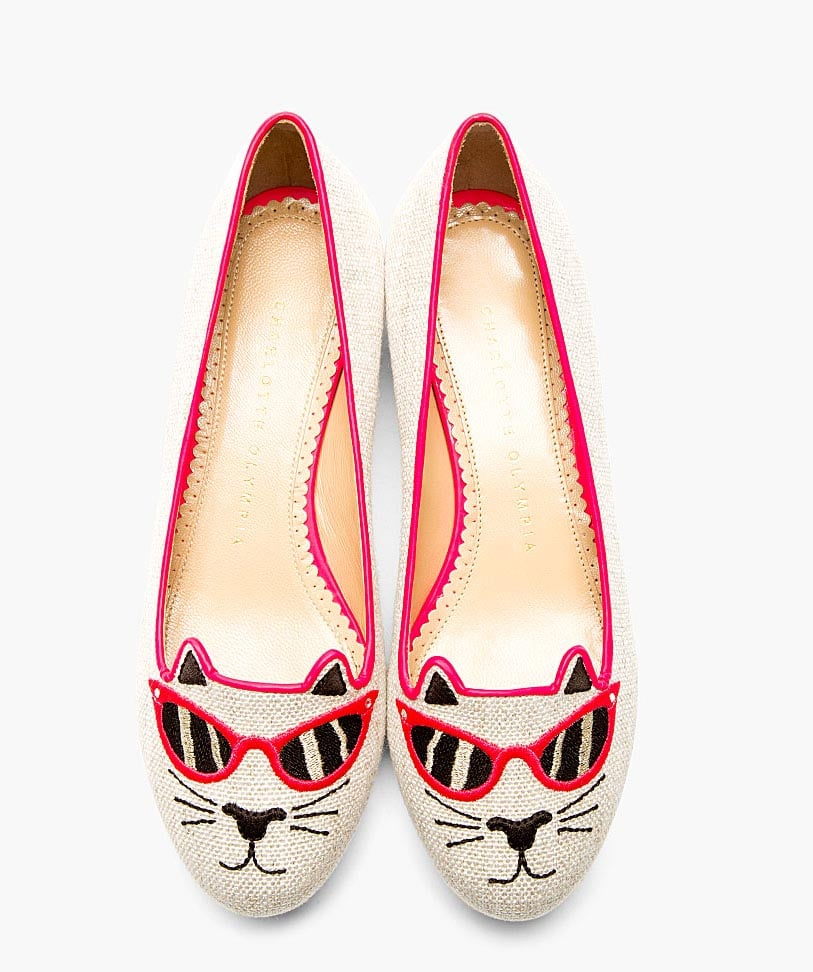 Charlotte Olympia Sunkissed Kitty Canvas Flat in Pink ($695)
