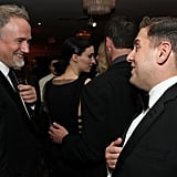 Jonah Hill said hi to David Fincher at the Sony Pictures Golden Globes party.