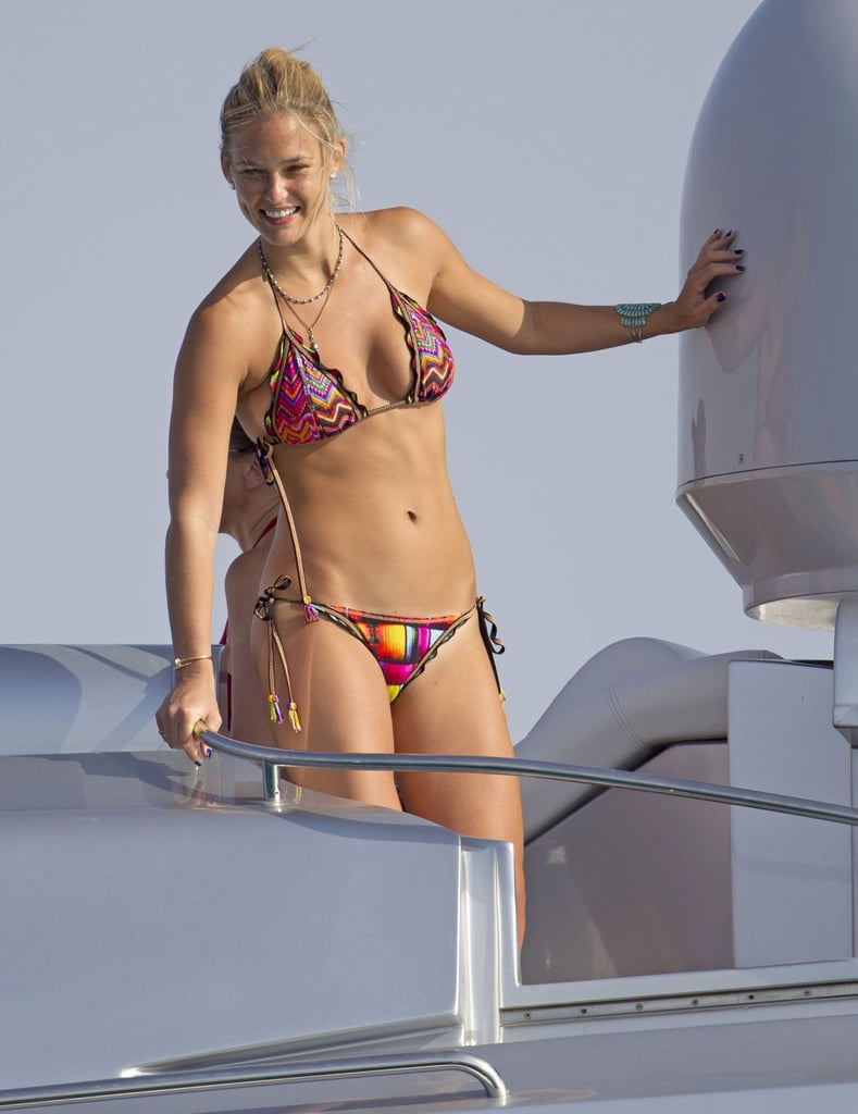Bar Refaeli donned a bikini for a vacation in Formentera in July.