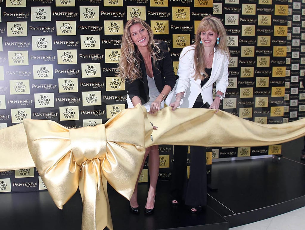Gisele Bundchen cut a ribbon for Pantene in Sao Paulo, Brazil.