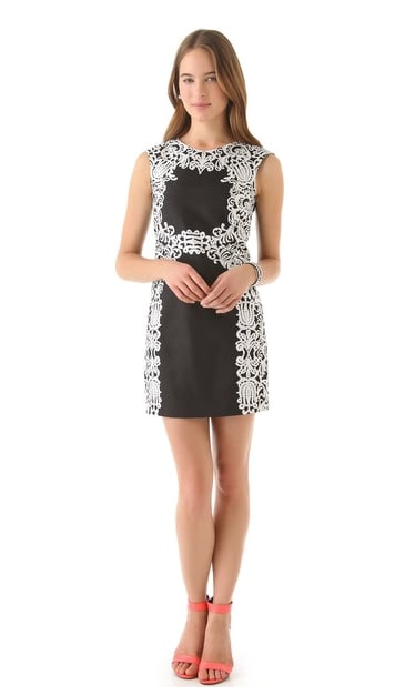 The white lace print on this Tibi Violette Sleeveless Dress ($385) isn't just pretty, it helps shape your figure.