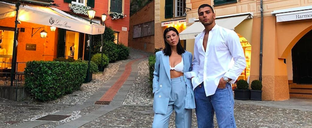Kourtney Kardashian Blue Suit and Bikini Top July 2018