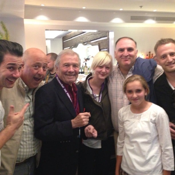 Chef Andrew Zimmern posted this group shot of him with best new chefs Jamie Malone and Michael Voltaggio and chefs José Andrés, Johnny Iuzzini, and Jacques Pépin.  Source: Instagram user chefaz