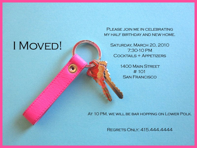 Come Party With Me Half Birthday Housewarming Invite – Apartment Warming Party Invitations