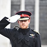 Prince Harry honored soldiers during Remembrance Day.