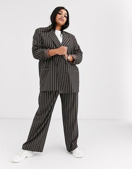 ASOS Design Curve Oversized Dad Suit in Pinstripe