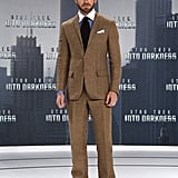 Chris Pine wore a patterned suit to the German premiere of Star Trek Into Darkness.