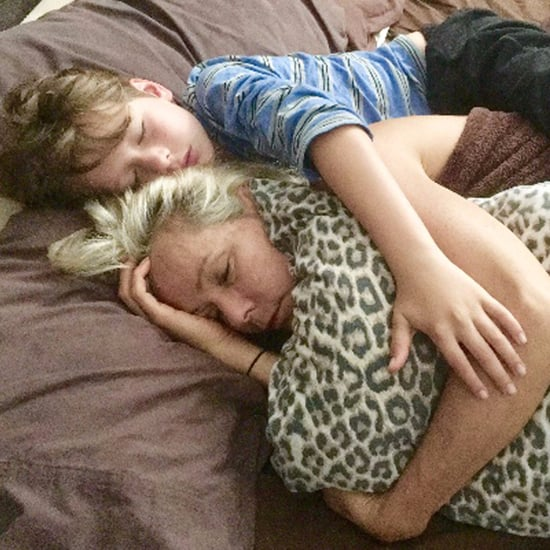 Boy Hugging Mum With Cancer