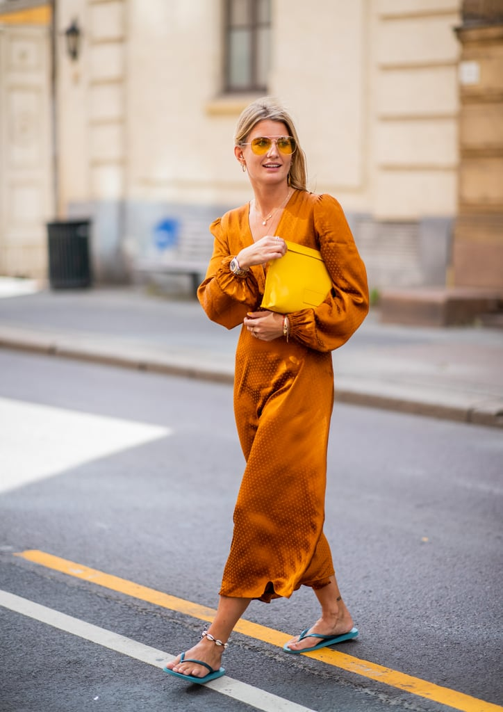 Styling an orange dress with a green pair.