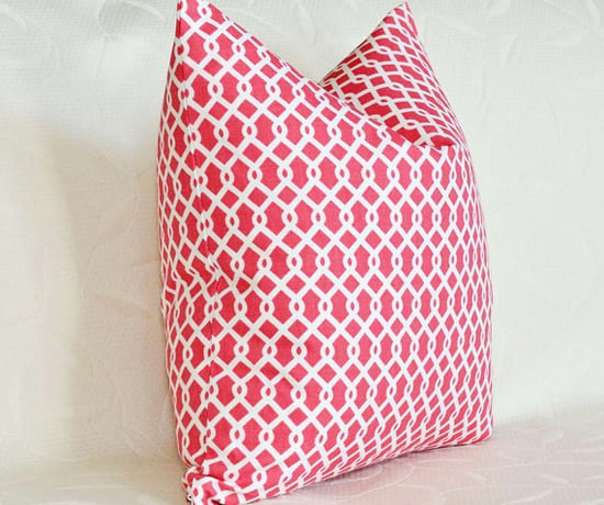 Red and White Decorative Pillows Geometric by PillowThrowDecor