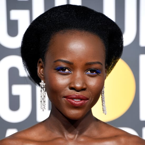 Lupita Nyong'o's Golden Globes Blue Lashes 2018