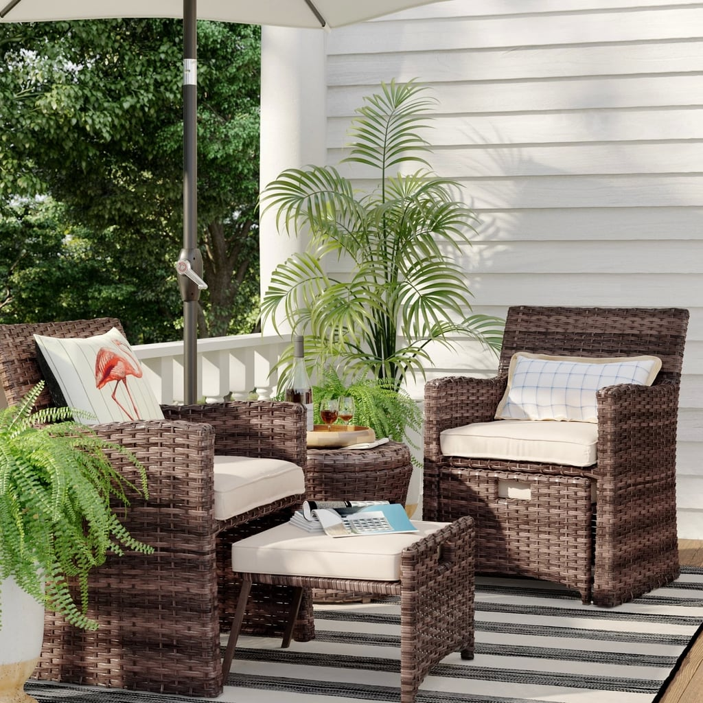 Halsted 5 Piece Wicker Small Space Patio Furniture Set Best