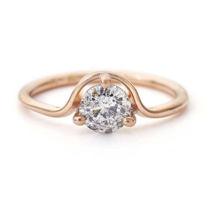 18k Rose Gold Gray Diamond Engagement Ring