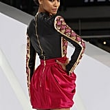 It's all in the details with Zoe Saldana's Balmain look — right down to the gold zipper down the back of her minidress.